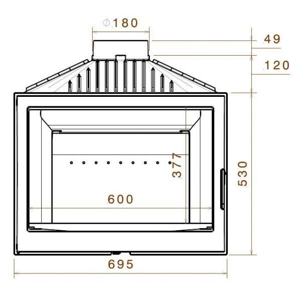 Топка LCI 007 GFLR, два боковых стекла (Liseo Castiron)