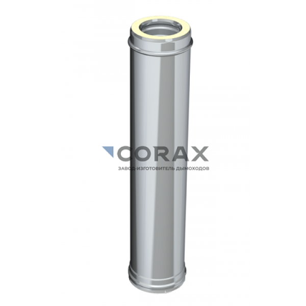 Сэндвич-дымоход Ø115(430/0,5)х200(430/0,5) L 1000 мм (Corax)