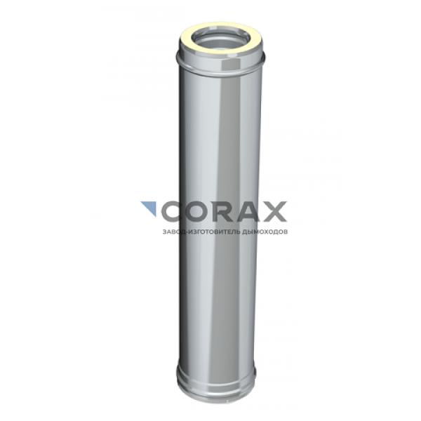 Сэндвич-дымоход Ø115(430/0,8)х200(430/0,5) L 1000 мм (Corax)