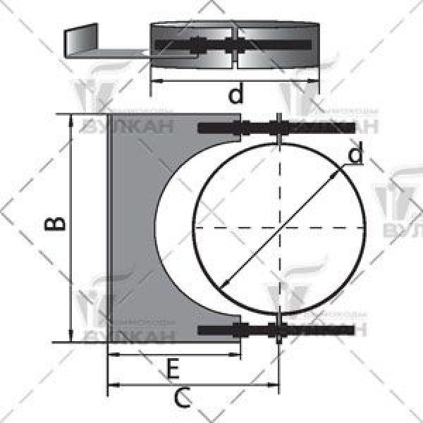 Элемент крепления к стене на трубу D115 без изоляции, зеркальный (Вулкан)