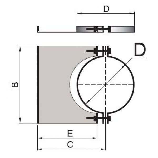 Элемент крепления к стене DHSH на трубу D120 с изол.50мм, нерж304 (Вулкан)