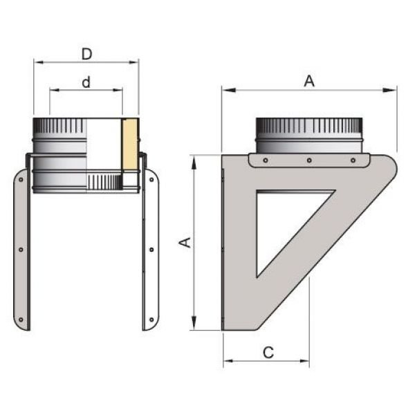 Кронштейн DOSH на трубу D200 с изол.50мм, нерж321/нерж304 (Вулкан)