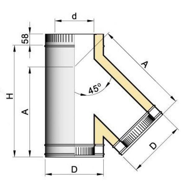Тройник 45° DTRH D130 с изол.50мм, нерж321/нерж304 (Вулкан)