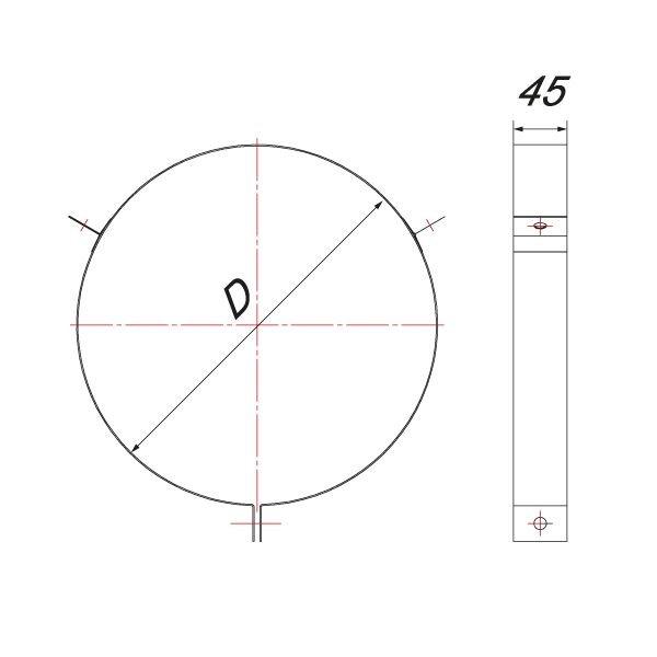 Хомут под растяжки на трубу V50R D115/215, нерж 304 (Вулкан)