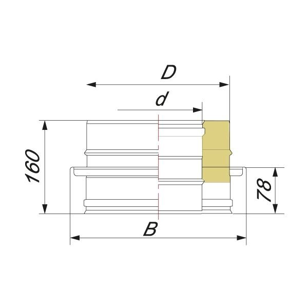 Опора V50R D115/215, нерж 321/304 (Вулкан)