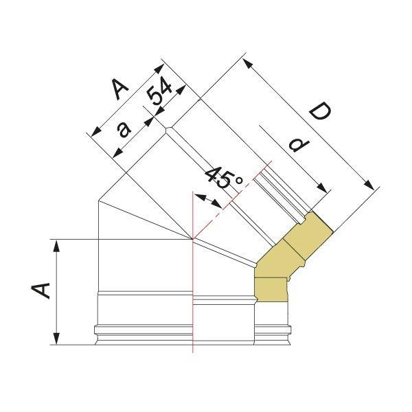 Отвод V50R 45° D115/215, нерж 321/304 (Вулкан)