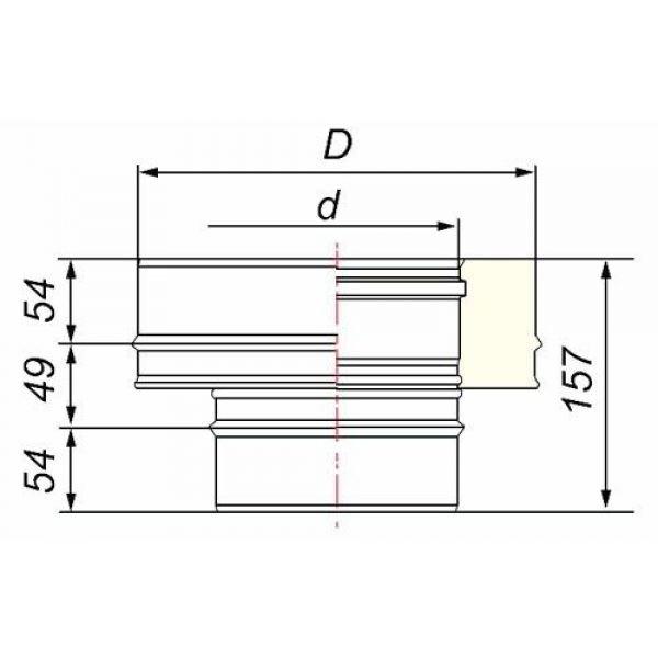 Переходник моно-термо V50R с D120 на D120/220, нерж 321/304 (Вулкан)