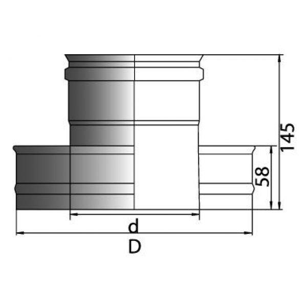 Переходник термо-моно PTM с D250/350 на D250, нерж321/нерж321 (Вулкан)