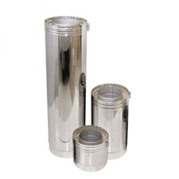 Труба двустенная DTH D250 L1000 с изол.50мм, нерж321/оцинк (Вулкан)