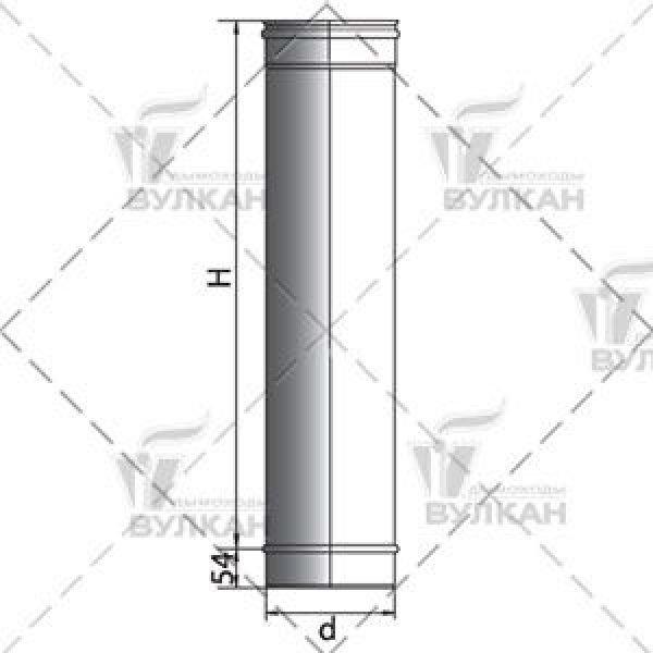 Труба L500 D200 без изоляции, матовая (Вулкан)