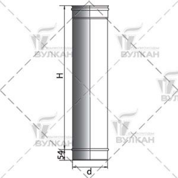 Труба L1000 D150 без изоляции, зеркальная (Вулкан)