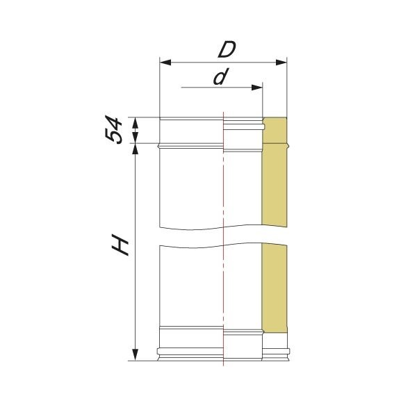 Труба V50R L1000 D104/204, нерж 321/304 (Вулкан)
