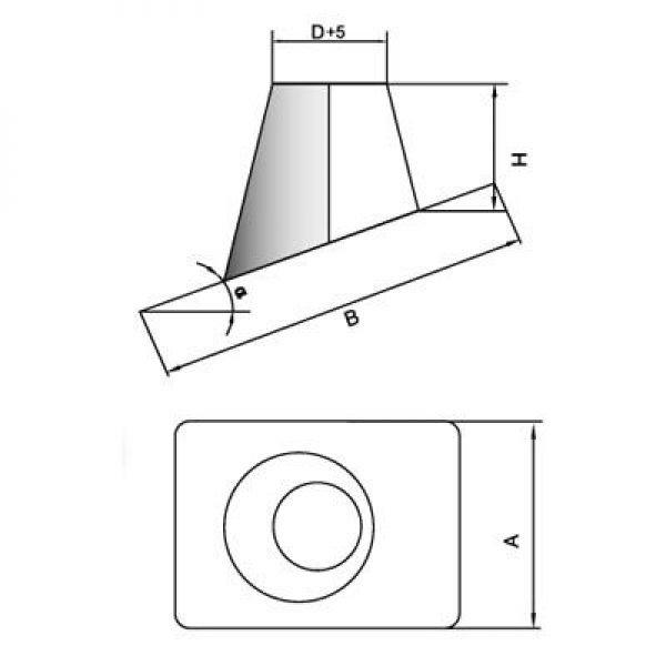 Кровельный элемент 0° DKH на трубу D250 с изол.50мм, оцинк (Вулкан)