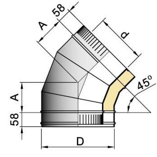 Отвод 45° DOTH D250 с изол.50мм, нерж321/оцинк (Вулкан)