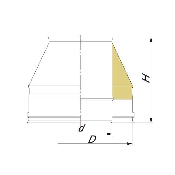 Конус Факел V50R D120/220, нерж 321/304 (Вулкан)
