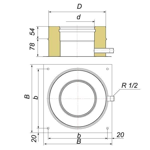 Опора нижняя V50R D120/220 с боковым выпуском конденсата, нерж 321/304 (Вулкан)