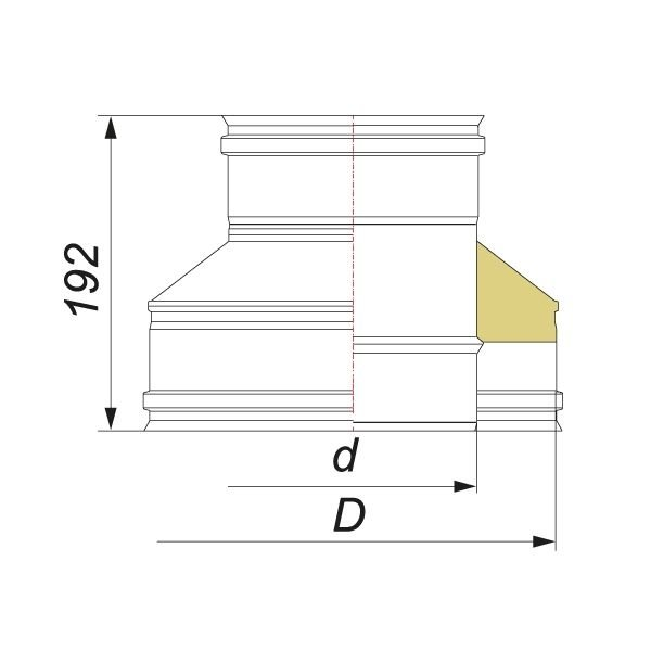 Переходник на конус термо-моно V50R с D120/220 на D120, нерж 321/304 (Вулкан)