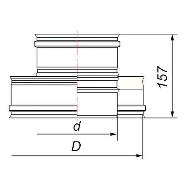 Переходник термо-моно V50R с D120/220 на D120, нерж 321/304 (Вулкан)