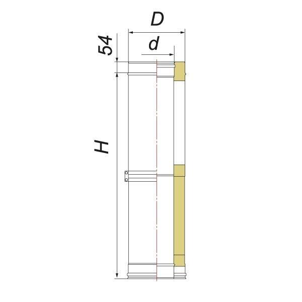 Труба телескопическая V50R L250 D120/220, нерж 321/304 (Вулкан)