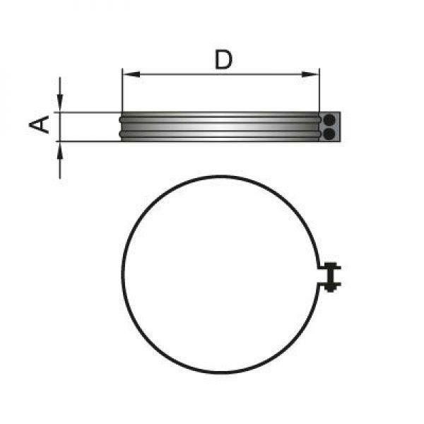 Хомут соединительный на трубу D160 с изоляцией 50 мм, оцинкованный (Вулкан)