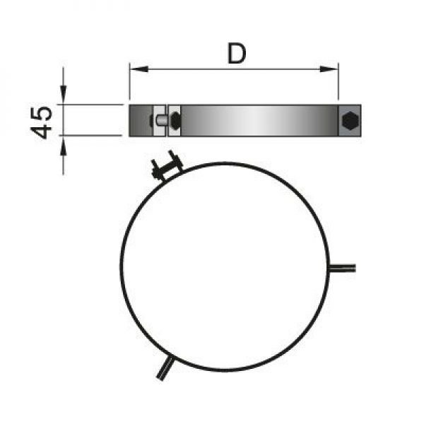 Хомут под растяжки DHRH на трубу D104 с изол.50мм, нерж304 (Вулкан)