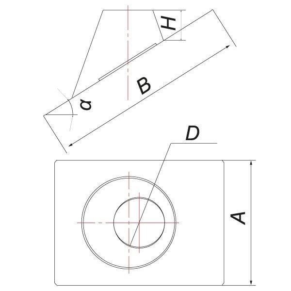 Кровельный элемент 0°-20° на трубу V50R D180/280, нерж 304 (Вулкан)