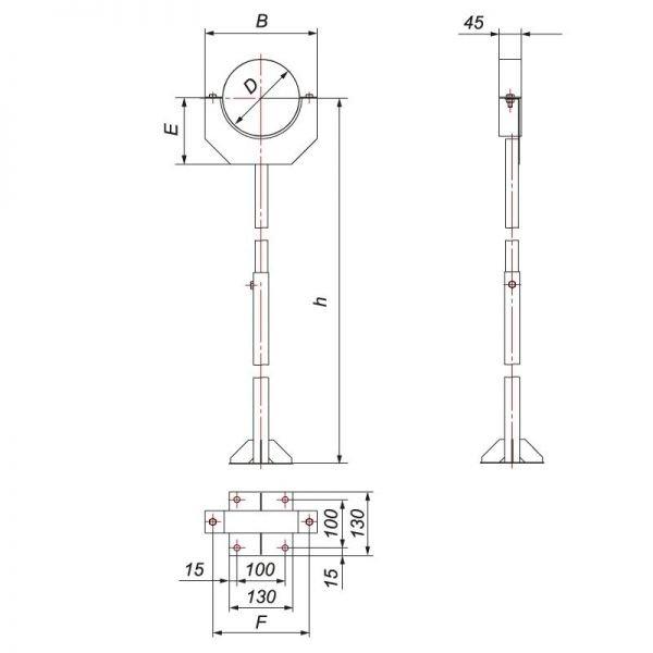 Стойка опорная 1080-1830 под трубу V50R D250/350, нерж 304 (Вулкан)
