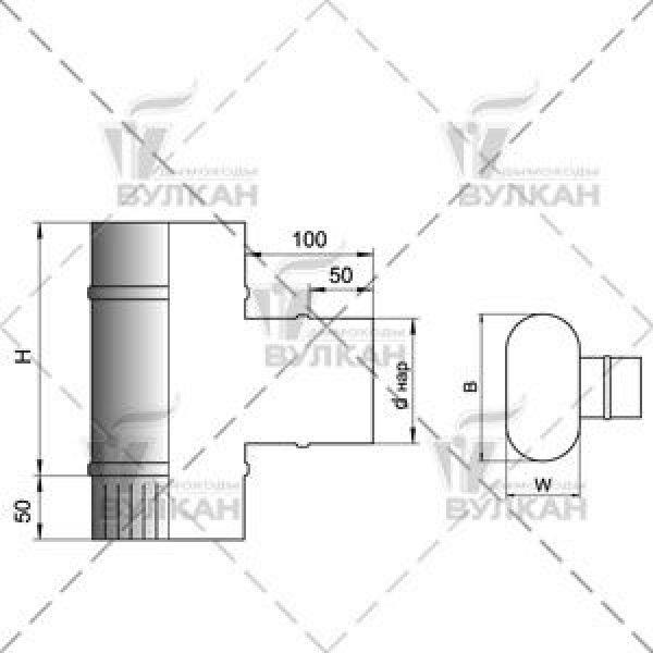 Тройник VOG 90° овал 120х240 на d130.7R (Вулкан)