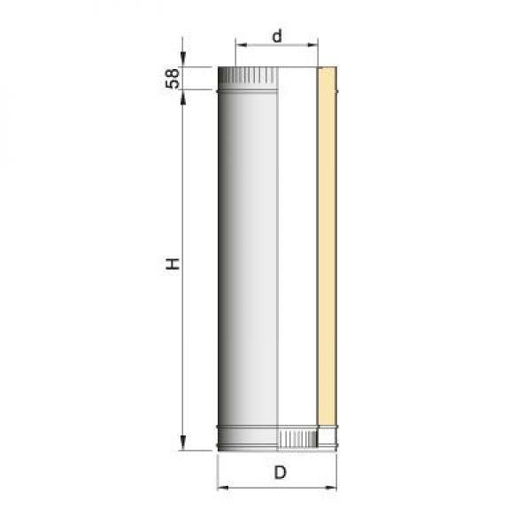 Труба двустенная DTH D130 L500 с изол.50мм, нерж321/оцинк (Вулкан)