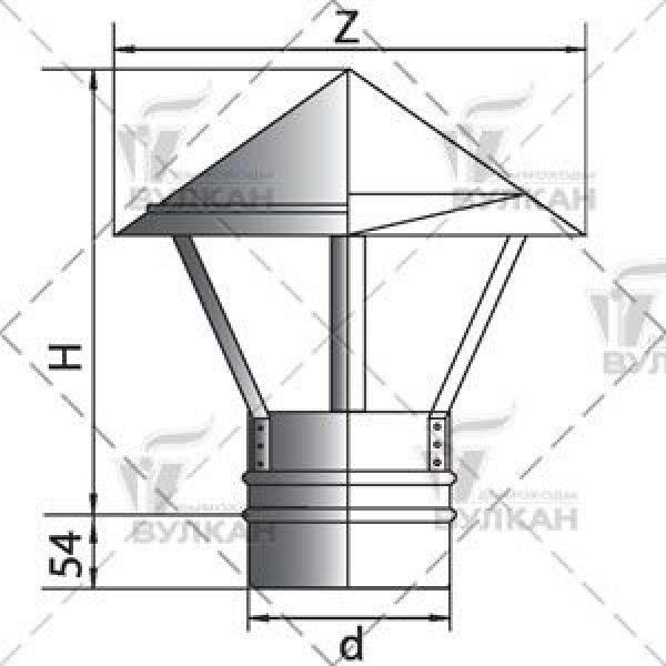 Зонтик D130 без изоляции, зеркальный (Вулкан)