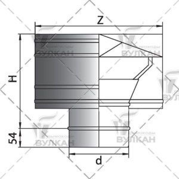 Дефлектор D130 без изоляции, зеркальный (Вулкан)