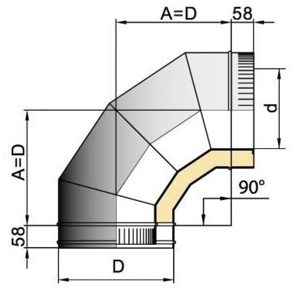 Отвод 90° DOTH D250 с изол.50мм, нерж321/оцинк (Вулкан)