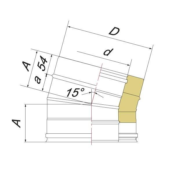 Отвод 15° V50R D130/230, нерж 321/304 (Вулкан)