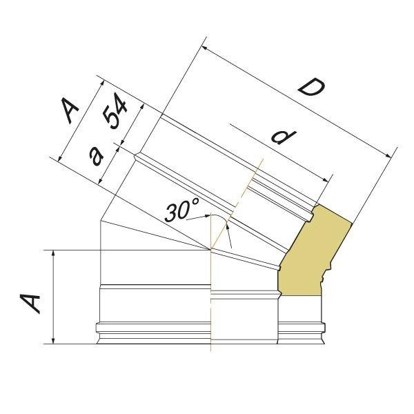 Отвод 30° V50R D130/230, нерж 321/304 (Вулкан)