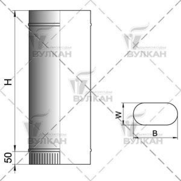 Труба VOG овал 100х200 L1000 (Вулкан)