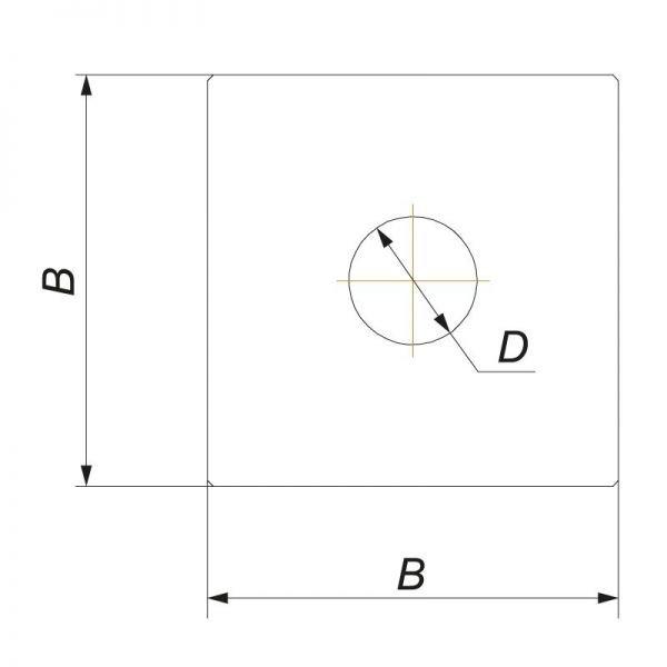 Фланец без изоляции 720х720, на трубу V50R D120/220, нерж 304 (Вулкан)