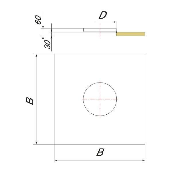 Фланец с изоляцией 720х720 на трубу V50R D120/220, нерж (Вулкан)