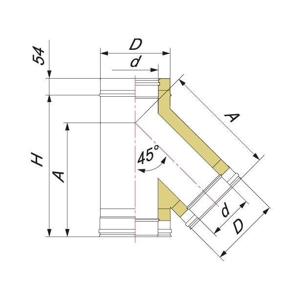 Тройник V50R 45° D150/250, нерж 321/304 (Вулкан)
