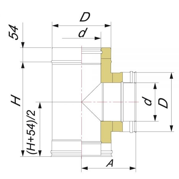 Тройник 90° DTRH D250 с изол.50мм, нерж321/оцинк (Вулкан)