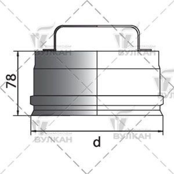 Ревизия на трубу D200 без изоляции, матовая (Вулкан)