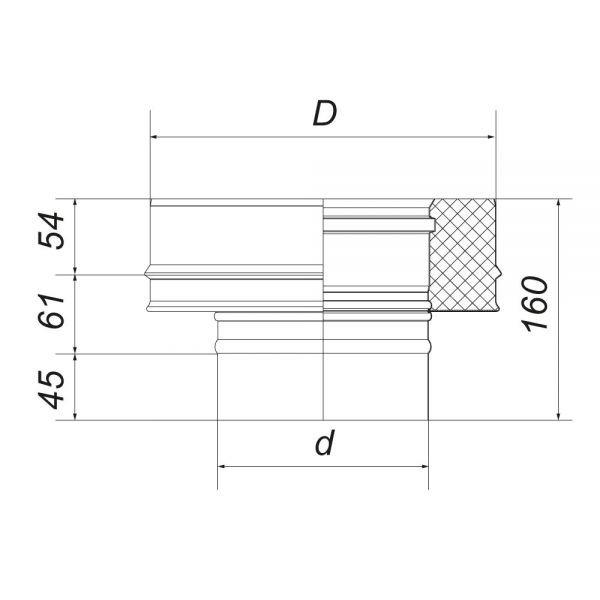 Переходник моно-термо VBR D200, нерж., черный (Вулкан)