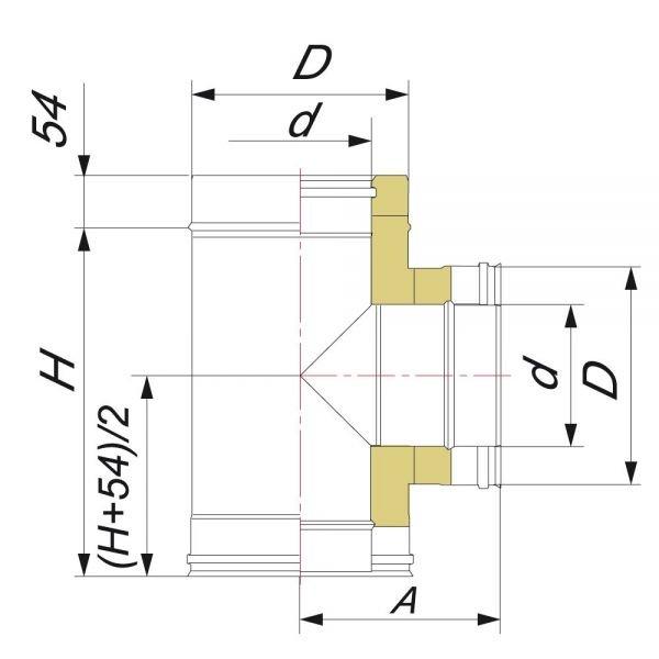 Тройник 90° DTRH D250 с изол.50мм, нерж321/нерж304 (Вулкан)