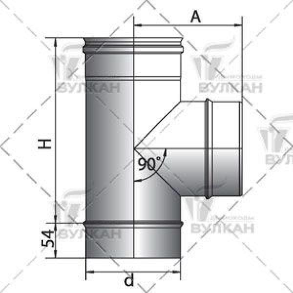 Тройник 90° D200 без изоляции, зеркальный (Вулкан)
