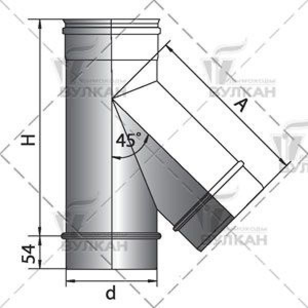 Тройник 45° D160 без изоляции, матовый (Вулкан)