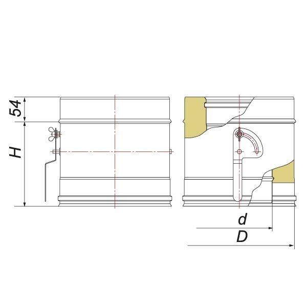 Шибер поворотный с механизмом фиксации V50R D180/280, нерж 321/304 (Вулкан)