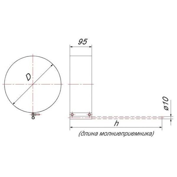 Хомут под молниеотвод на трубу V50R D200/300, нерж 304 (Вулкан)