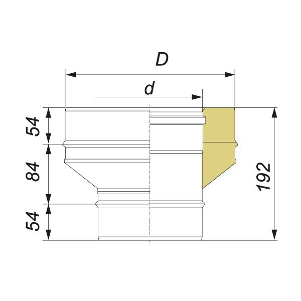 Переходник на конус моно-термо V50R с D200 на D200/300, нерж 321/304 (Вулкан)