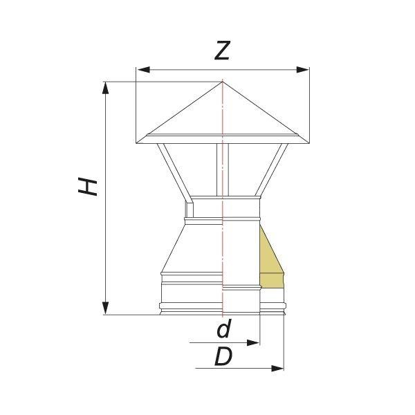 Зонт V100R D130/330, нерж 321/304 (Вулкан)