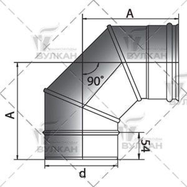 Отвод 90° D180 без изоляции, матовый (Вулкан)