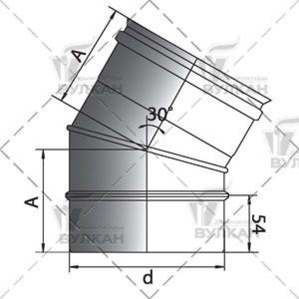 Отвод 30° D300 без изоляции, матовый (Вулкан)